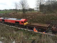 DBS 66114 patiently awaits loading with spoil from trackside drainage excavations.<br><br>[Martin MacGuire&nbsp;02/04/2016]