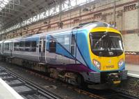 A Class 185 unit at Manchester Piccadilly sporting the new TransPennine livery. This was 1st April 2016, the launch day of the new franchise. [See news item]<br><br>[Hugh McLellan&nbsp;01/04/2016]