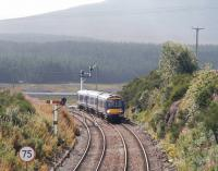 An Inverness bound train approaching Dalwhinnie in August 2007.  <br><br>[John Furnevel&nbsp;25/08/2007]