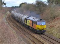 Colas 60087 enters the double track at Stanley with the 6Z31 Inverness - Oxwellmains empty cement on 30 March.<br><br>[Bill Roberton&nbsp;30/03/2016]
