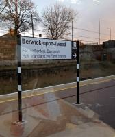 A comprehensive sign at Berwick. Galashiels interchange probably has the greater claim to serving the borders.<br><br>[John Yellowlees&nbsp;28/03/2016]
