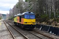 Class 60 No.60087 CLIC Sargent running light engine from Oxwellmains Lafarge to Inverness Lafarge is pictured approaching Carrbridge.<br><br>[John Gray 28/03/2016]
