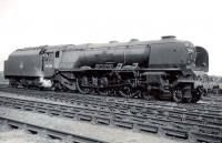 Stanier Pacific 46220 <I>Coronation</I> photographed at Polmadie in the spring of 1950.<br><br>[G H Robin collection by courtesy of the Mitchell Library, Glasgow&nbsp;12/03/1950]
