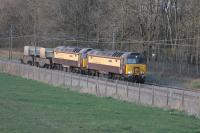 <I>The Sellafield Belle</I> heads for Crewe at Brock on the evening of 5th April 2016. The Pullman liveried duo are 57312 <I>Solway Princess</I> and 57305 <I>Northern Princess</I>, formerly Virgin Thunderbirds <I>The Hood</I> and <I>John Tracy</I> respectively. <br><br>[Mark Bartlett&nbsp;05/04/2016]