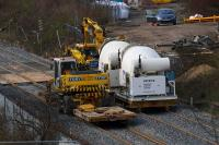 Rail mounted cement mixers and Road/Rail Vehicles parked at the Keppochhill Drive/Fountainwells access point on 15th April 2016.<br><br>[Colin McDonald&nbsp;15/04/2016]