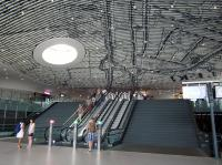The new Delft Station is very swanky, featuring a cleverly designed intricately detailed ceiling which shows a historical map of the city and looks different from different angles. The new building was designed by <a target=external href=http://www.mecanoo.nl/Projects/project/52/Municipal-Offices-and-Train-Station?t=0>Mecanoo</a>.<br><br>[Beth Crawford&nbsp;05/07/2015]