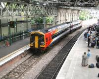 South West Trains liveried 158786 at the east end of Waverley on 5 July 2007. The train is standing alongside the recently completed 'Balmoral' through platform. <br><br>[John Furnevel&nbsp;05/07/2007]