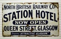 As the sign attests, this is not the first time that Glasgow Queen Street has had a bit of a makeover. The sign can be found at the Statford Barn Railway. The Victorians really were the masters of marketing - 'Attractive. Glasgow.'.<br><br>[Peter Todd&nbsp;09/04/2016]