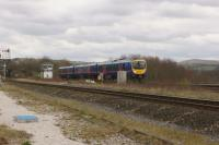 A TransPennine Express service from Cleethorpes to Manchester Airport passes New Mills South Jct in the early afternoon of 09 April 2016. The track in the foreground is from New Mills Central while the Class 185 is on the line that leads to Hazel Grove and Stockport.<br><br>[John McIntyre&nbsp;09/04/2016]