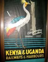 Good example of poster at Kenya Railway Museum in Nairobi. The company operated in the British Colony and Protectorate of Kenya and the Protectorate of Uganda between 1929 until 1948. 'For discriminating travellers'.<br><br>[Alistair MacKenzie&nbsp;17/03/2014]