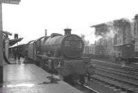 Calling at Carlisle platform 1 on Saturday 17 August 1963 is the 1S46 9.15am Liverpool Exchange - Glasgow Central. Locomotive in charge throughout is Bank Hall shed's Jubilee 45698 <I>Mars</I>.<br><br>[K A Gray&nbsp;17/08/1963]