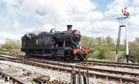 GWR 2-8-0T 4247 running around its train at Hayes Knoll.<br><br>[Peter Todd&nbsp;23/04/2016]