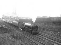 The up <I>Queen of Scots</I> Pullman climbing Cowlairs Incline on 5 May 1956. Locomotive in charge is A2 Pacific 60535 <I>Hornet's Beauty</I>, with N15 0-6-2T 69188 working hard at the rear. <br><br>[G H Robin collection by courtesy of the Mitchell Library, Glasgow&nbsp;05/05/1956]