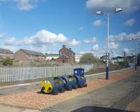 On the platform at Arbroath is a Dundee and Angus College barrel-train.<br><br>[John Yellowlees&nbsp;30/04/2016]
