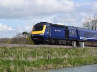 HST 125 43140 passing Crofton westbound. The Kennet and Avon Canal is in the foreground.<br><br>[Peter Todd&nbsp;26/04/2016]