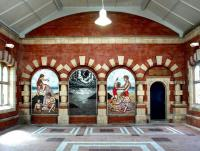 The triptych mosaic <I>Passing</I> by Ian Patience, located in the main entrance hall at Whitley Bay station and seen here in the summer of 2004. The mosaic panels have replaced ticket windows within the arches, with the former booking office beyond now occupied by <I>'Coffee Central'</I>.<br><br>[John Furnevel&nbsp;10/07/2004]
