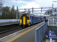 Am Alloa to Glasgow Queen Street Low Level service makes an apparently unscheduled stop at Springburn (luckily for me) on 30/04/2016.<br><br>[David Panton&nbsp;30/04/2016]