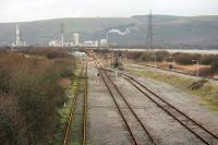 Looking to Margam Abbey Works East junction in 2012. Only the line to the left, accessing the remaining portion of the hump yard and wagon repair sidings, remained in use. Indeed the two lines to the right, for the running shed, have since been cut back to this location.<br><br>[Alastair McLellan&nbsp;04/01/2012]