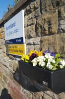 Flowers at Burntisland station, courtesy of Floral Action Burntisland.<br><br>[John Yellowlees&nbsp;19/04/2016]