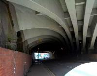 Artistry in concrete: a look at the underside of the viaduct on the South-Eastern approach to Piccadilly station, Manchester, on 16th April 2016. [Ref query 15223]<br><br>[Ken Strachan&nbsp;16/04/2016]