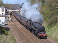 The Inverness - Oxenholme leg of the Great Britain IX railtour, hauled by 44871 with 47760 on the rear charges through Gleneagles running an hour late due to a brake problem.<br><br>[Bill Roberton&nbsp;03/05/2016]