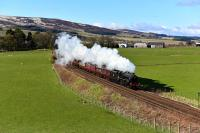 Black 5 No 44871 hauling The Great Britain IX north to Inverness. Pictured approaching Gleneagles.<br><br>[John Gray&nbsp;30/04/2016]