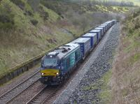 DRS 68022 nears Gleneagles with the daily Grangemouth - Aberdeen intermodal on 3 May.<br><br>[Bill Roberton&nbsp;03/05/2016]