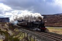 Black 5 No.44871 midway through Druimuachdar Pass with The Great Britain IX on the way to Inverness.<br><br>[John Gray&nbsp;30/04/2016]
