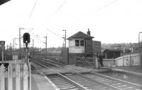 A quiet moment between trains and the signalman has a chat with the clerk from the booking office at Cardross in March 1970.<br><br>[John McIntyre&nbsp;/03/1970]