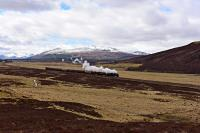 On the way from Edinburgh to Inverness,Black 5 No.44871 passes through the bleak landscape north of Dalwhinnie with The Great Britain IX.<br><br>[John Gray&nbsp;30/04/2016]