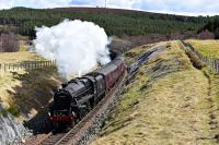 Black 5 No.44871 starts the climb to Slochd Summit with The Great Britain IX .Once over the summit it's almost all downhill to Inverness.<br><br>[John Gray&nbsp;30/04/2016]