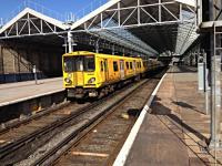 Merseyrail unit partly basking in the sun at Southport April 2016.<br><br>[Veronica Clibbery&nbsp;/04/2016]