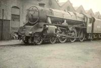 Black 5 45157 <I>The Glasgow Highlander</I> photographed on 1 November 1950 at Balornock shed. <br><br>[G H Robin collection by courtesy of the Mitchell Library, Glasgow&nbsp;01/11/1950]