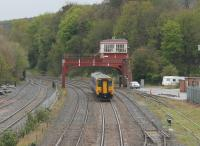 156448 departs Hexham for Nunthorpe, via Newcastle and Hartlepool, on 2nd May 2016. Trains from Newcastle that terminate at Hexham run <I>wrong line</I> on departure and the Sprinter will only cross over after passing under the signal box. <br><br>[Mark Bartlett&nbsp;02/05/2016]