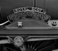 Although I had seen Royal Scot many years ago during its sojourn at Bressingham, I had completely forgotten about the amount of brasswork which it carries in addition to its nameplates. The two plates  commemorate its trip to North America in 1933, prior to rebuilding, although they fail to mention that the true identity of the loco was No. 6152 The King's Dragoon Guardsman! Photographed at Carlisle on 16th April 2016 while working The Scot Commemorative tour from Crewe.<br><br>[Bill Jamieson&nbsp;16/04/2016]