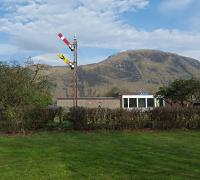 Signals preserved outside a railway social club at Fort William.<br><br>[John Yellowlees&nbsp;08/05/2016]