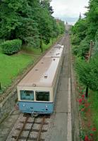 A train on the former rack railway from Ouchy to Flon via Lausanne in 1991. The line was originally a funicular. It has since closed and re-opened as line M2 of the Lausanne Metro.<br><br>[Ewan Crawford&nbsp;//1991]