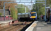 The 1719 Glasgow Central to Aberdeen made up of a combination of a 170 and a 158 set just after passing Coatbridge Jn approaching Coatbridge Central.  09/05/16<br><br>[Alastair McLellan&nbsp;09/05/2016]