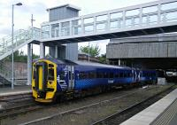 A 5-coach service for Glasgow Central (yes, Central) leaves  Perth.<br><br>[David Panton&nbsp;17/05/2016]