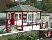 The signal box at Settle station in November 2004, photographed from the footbridge.<br><br>[John Furnevel&nbsp;03/11/2004]