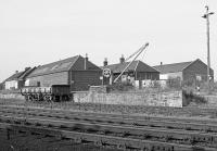 Ladybank Civil Engineers Depot in 1992.  In the centre is the NBR crane now relocated to Glenfinnan [see image 55149].<br><br>[Bill Roberton&nbsp;//1992]