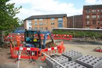 The site of the now-demolished Gourlay Street bridge over the Cowlairs Incline as abutments are rebuilt and new parapets are constructed.<br> (My thanks to the residents who were replacing their 3 piece suite which helped me take photos over the fence).<br><br>[Colin McDonald&nbsp;30/05/2016]