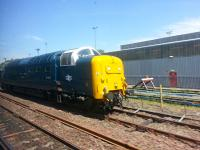 Grab shot of 55003 Meld (actually 55022 Royal Scots Grey I believe) at Eastfield on 12 June 2015 with stock for St Rollox.<br><br>[Mark Poustie&nbsp;12/06/2015]
