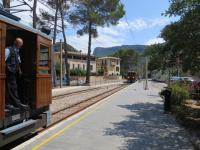 Service from Palma waits at Bunyola to cross an incoming train from Soller.<br><br>[Mark Wringe 27/07/2014]