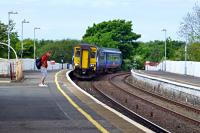 The 14.53 arrival at Girvan, which terminates here and will return as the 15.00 to Ayr.<br><br>[Colin Miller&nbsp;24/05/2016]