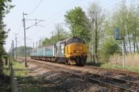 37401 <I>Mary Queen of Scots</I>, approaches the level crossing at Bolton-le-Sands with the 1004hrs Preston to Barrow service. During 2016 37401, 402, 409, 423 and 425 have all seen use on Cumbrian Coast services, the first two running in <I>Large Logo</I> livery.  <br><br>[Mark Bartlett&nbsp;12/05/2016]