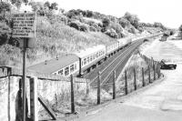 An Aberdeen bound train heading east from Dundee in the summer of 1981 approaching the site of the former Stannergate station. Photographed from the (since closed) road bridge from the A92 running into the old dock estate. The notice didn't seem to apply any longer - either that or several local dog walkers were in dead shtook.<br><br>[John Furnevel&nbsp;11/08/1981]