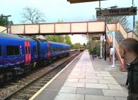 Capital connections: for a small town in Wiltshire, Bradford is remarkably well connected by rail. The train on the left is heading for Cardiff, that on the right is heading for London Waterloo.<br><br>[Ken Strachan 30/04/2016]