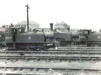 Scene in the shed yard at Eastfield on 12 October 1951. Ex-NB types present include Reid J88 0-6-0T 68327 of 1905 and Holmes J83 0-6-0T 68464 of 1901. <br><br>[G H Robin collection by courtesy of the Mitchell Library, Glasgow&nbsp;12/10/1951]