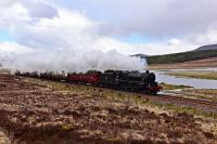 Black 5 No.44871 is pictured between Achanalt and Achnasheen with the GB IX trip to Kyle of Lochalsh.The River Bran in the background.<br><br>[John Gray&nbsp;/05/2016]